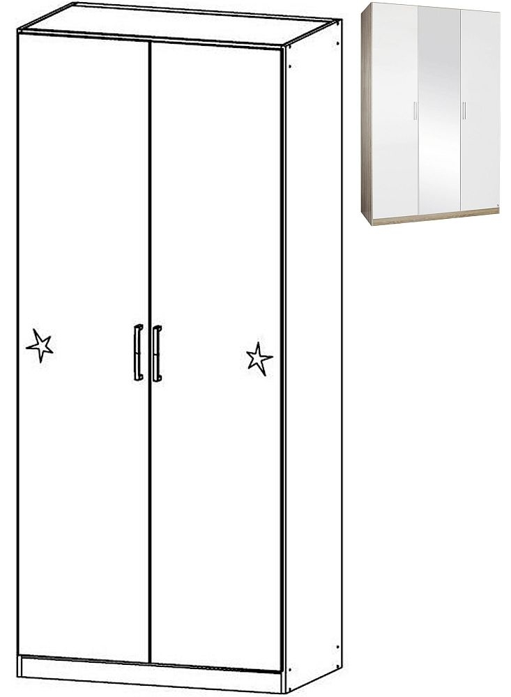 Rauch Samos 2 Door Wardrobe in Sonoma Oak and High Gloss White