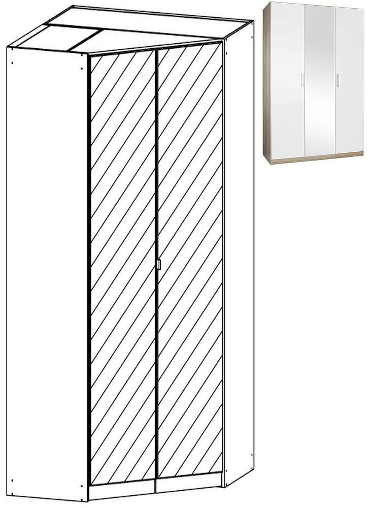 Rauch Samos 2 Mirror Door Corner Wardrobe in Sonoma Oak and High Gloss White