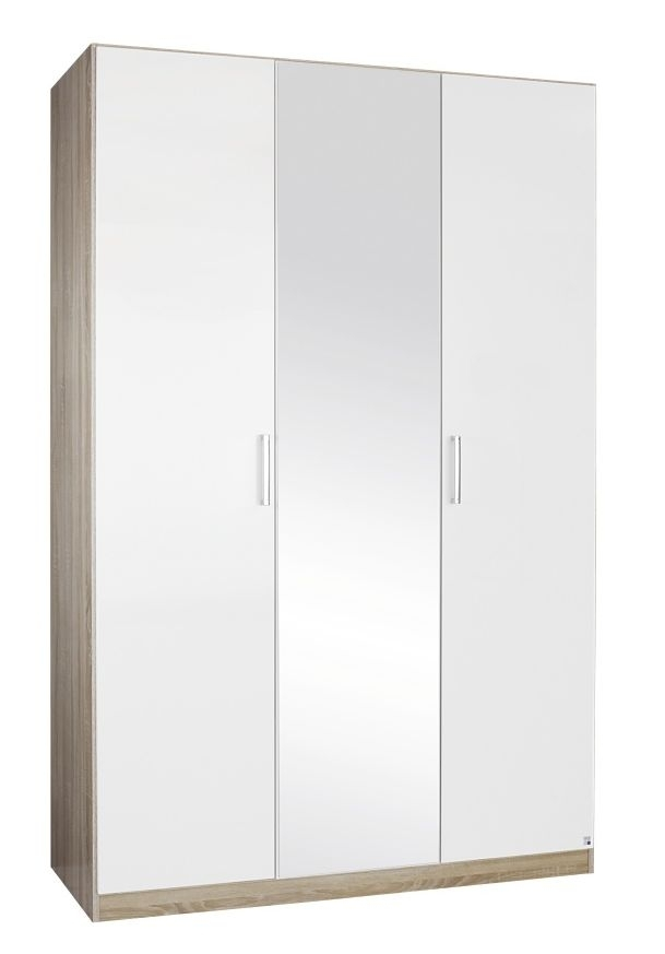 Rauch Samos 3 Door 1 Mirror Wardrobe in Oak and High Gloss White