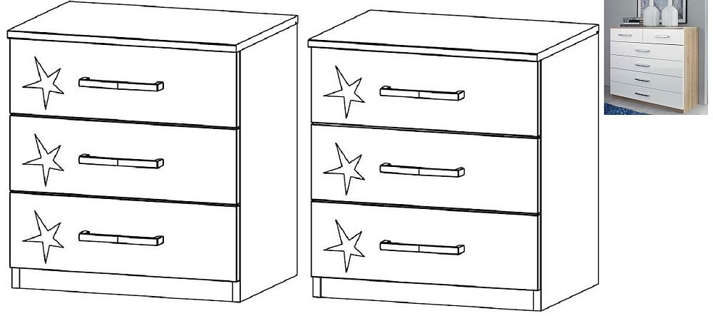 Rauch Samos 3 Drawer Bedside Cabinet in Sonoma Oak and High Gloss White - (Pair)