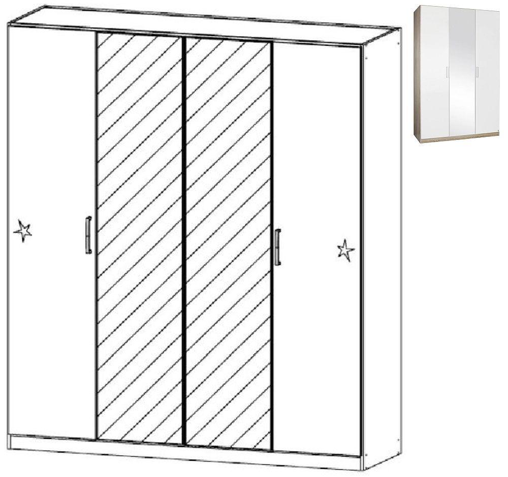 Rauch Samos 4 Door 2 Mirror Wardrobe in Sonoma Oak and High Gloss White