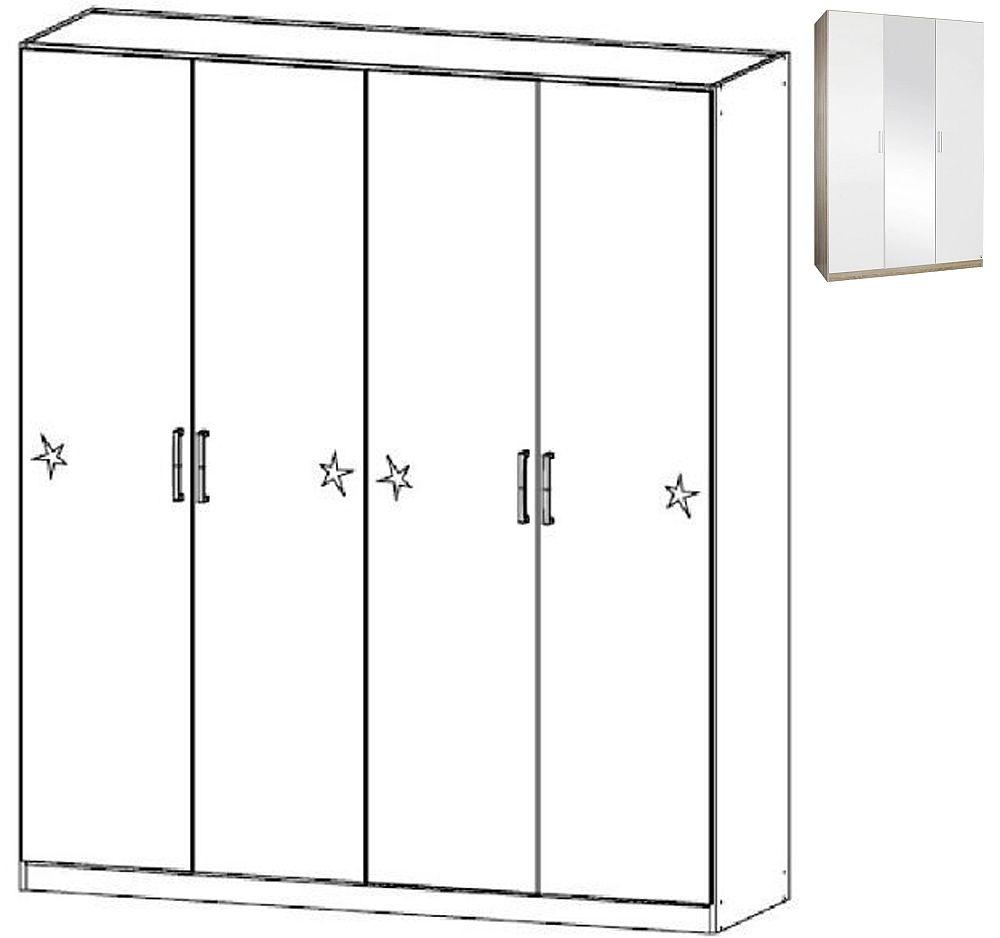 Rauch Samos 4 Door Wardrobe in Sonoma Oak and High Gloss White