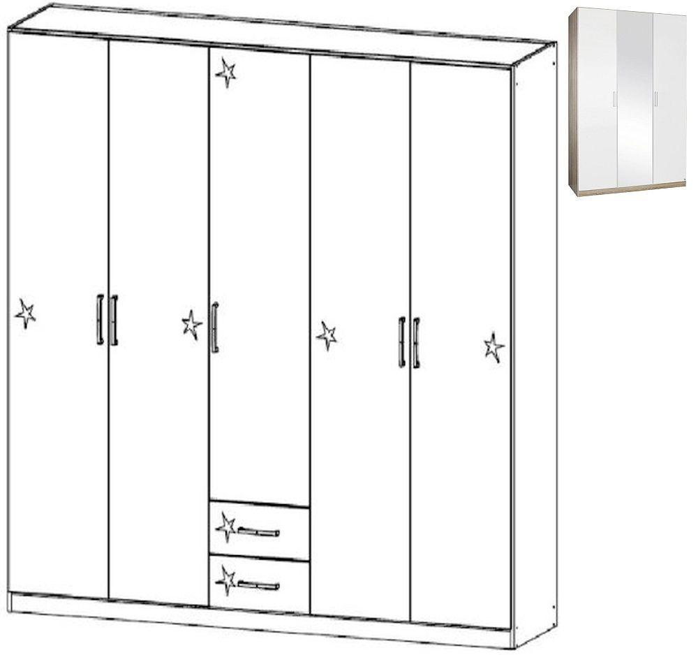 Rauch Samos 5 Door 2 Drawer Combi Wardrobe in Sonoma Oak and High Gloss White