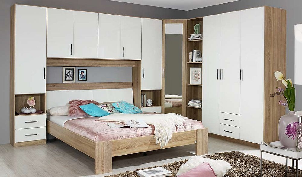 Rauch Samos Overbed Unit Bedroom Set with 180cm Bed in Sonoma Oak and High Gloss White