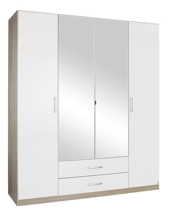 Rauch Samos 4 Door 2 Drawer 2 Mirror Combi Wardrobe in Sonoma Oak and High Gloss White