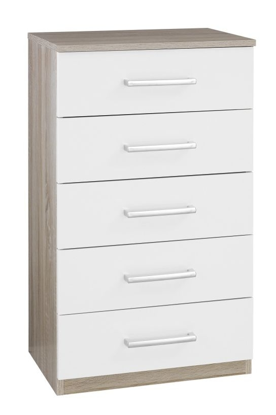 Rauch Samos 5 Drawer Chest in Sonoma Oak and High Gloss White