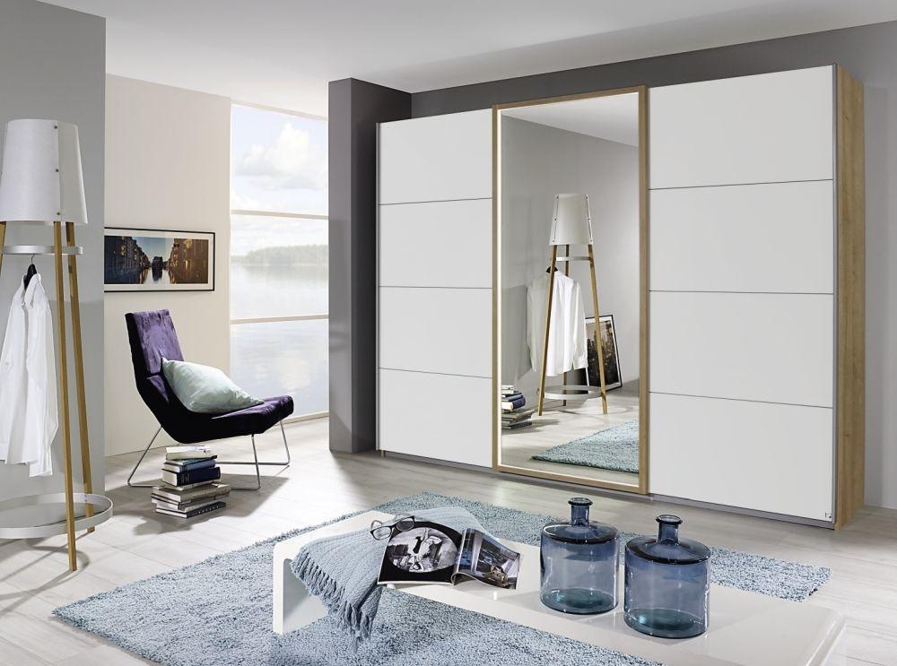 Rauch Senden Riviera Oak with Alpine White 2 Door 1 Mirror Sliding Wardrobe with Frame and Integrated Lightning - W 181cm