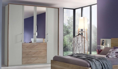 Rauch Sheryl 4 Door Combi Wardrobe in Silk Grey and Oak - W 204cm