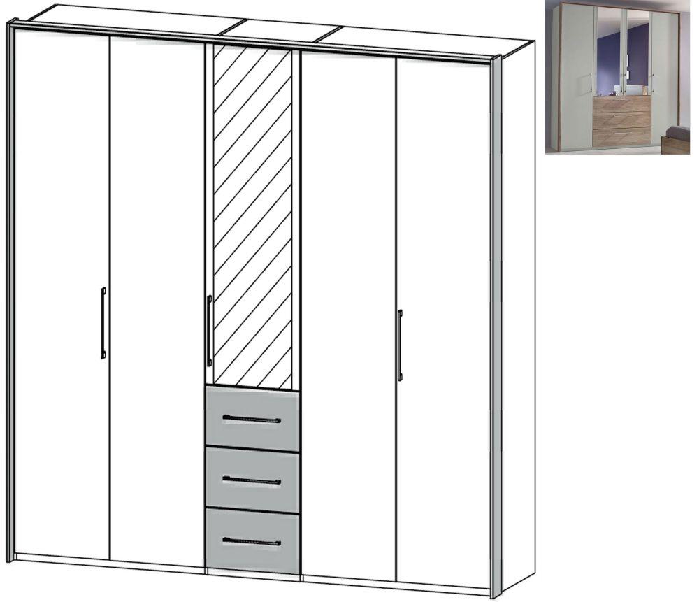 Rauch Sheryl 5 Door 1 Mirror 3 Drawer Combi Wardrobe in Silk Grey with Sanremo Oak Light - W 254cm
