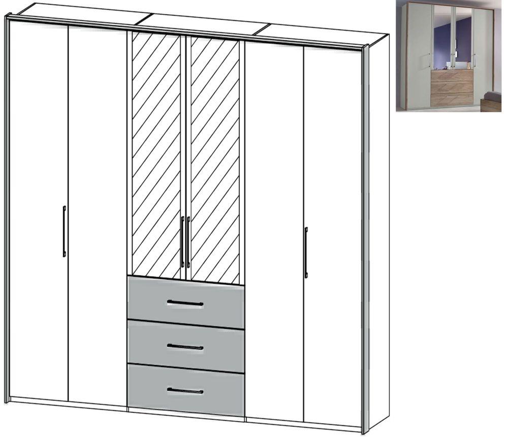 Rauch Sheryl 6 Door 2 Mirror 3 Drawer Combi Wardrobe in Silk Grey with Sanremo Oak Light - W 304cm