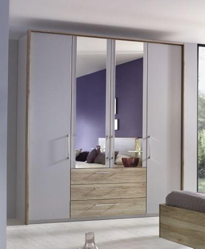 Rauch Sheryl Silk Grey 4 Door 3 Drawer Wardrobe with 2 Mirror and Sanremo Oak Passepartout - W 204cm