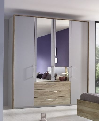 Rauch Sheryl 5 Door 1 Mirror Wardrobe in Silk Grey and Oak with Passepartout - W 254cm