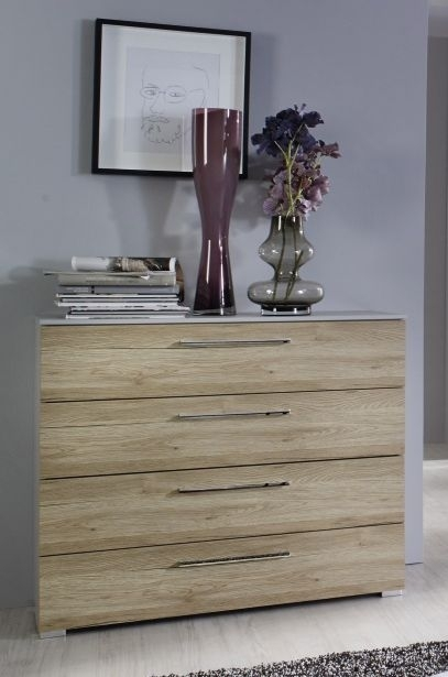 Rauch Sheryl Silk Grey with Sanremo Oak Chest of Drawer - 3+2 Drawer