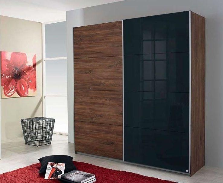 Rauch Shine4you 2 Door Sliding Wardrobe in Stirling Oak and Black Glass - W 181cm