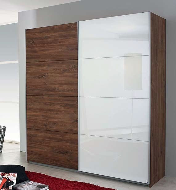 Rauch Shine4you 2 Door Sliding Wardrobe in Stirling Oak and White Glass - W 181cm