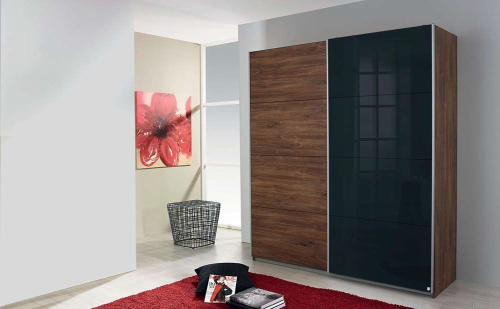 Rauch Shine4you Stirling Oak with Black Glass Overlay 2 Door Sliding Wardrobe with Aluminium Handle Strips - W 136cm