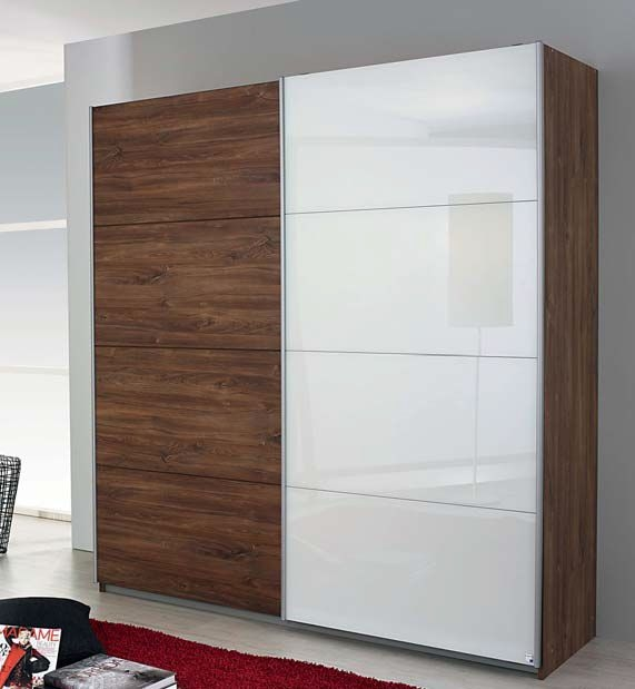 Rauch Shine4you 2 Glass Door Sliding Wardrobe in Oak and White with Aluminium Handle Strips - W 181cm