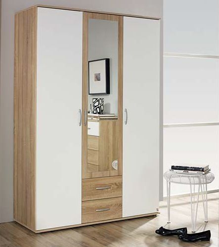 Rauch Simply4You Extra 3 Door 2 Drawer 1 Mirror Combi Wardrobe in Oak and Alpine White - W 127cm