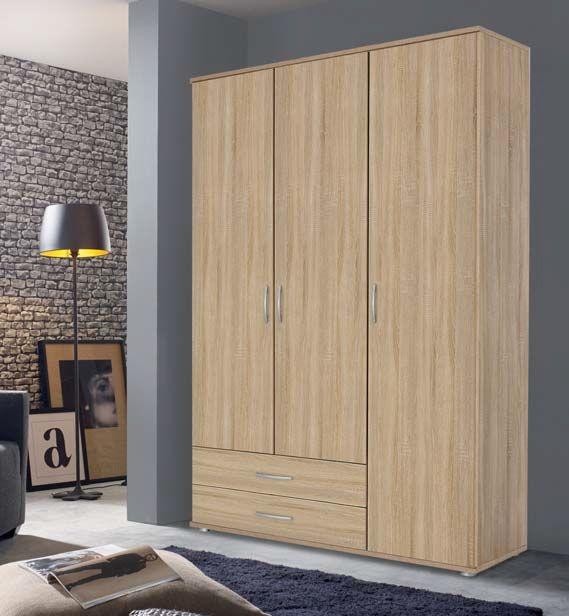Rauch Simply4you 3 Door Wardrobe in Oak - W 127cm