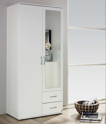 Rauch Simply4you 2 Door 2 Drawer 1 Mirror Combi Wardrobe in Alpine White - W 85cm