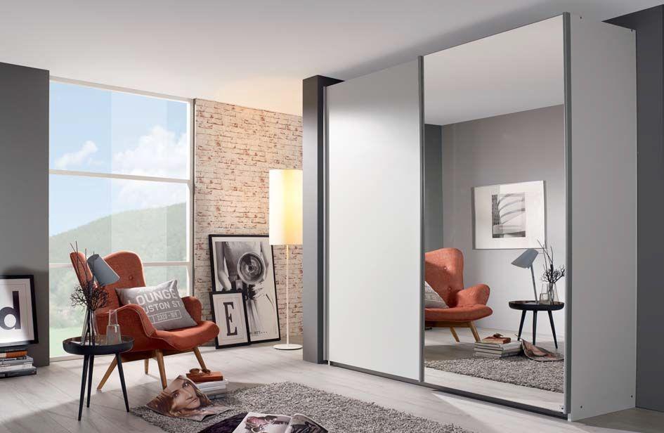 Rauch Sona 2 Door Mirror Sliding Wardrobe in White - W 181cm
