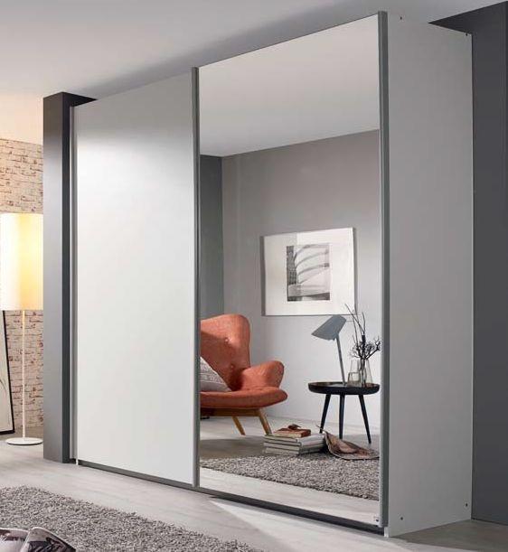 Rauch Sona 2 Mirror Door Sliding Wardrobe in Alpine White - W 181cm