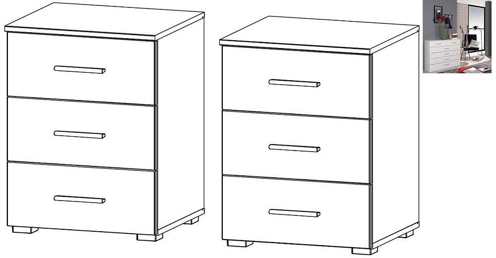 Rauch Sona 3 Drawer Bedside Cabinet in Alpine White - (Pair)