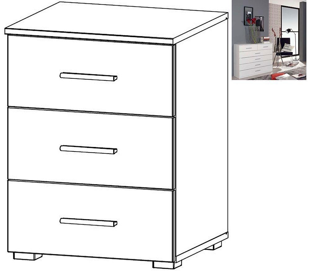 Rauch Sona 3 Drawer Bedside Cabinet in Alpine White