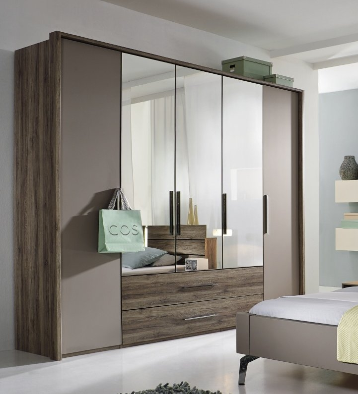 Rauch Steffen Manila Wardrobe with Middle Door in Crystal Mirror