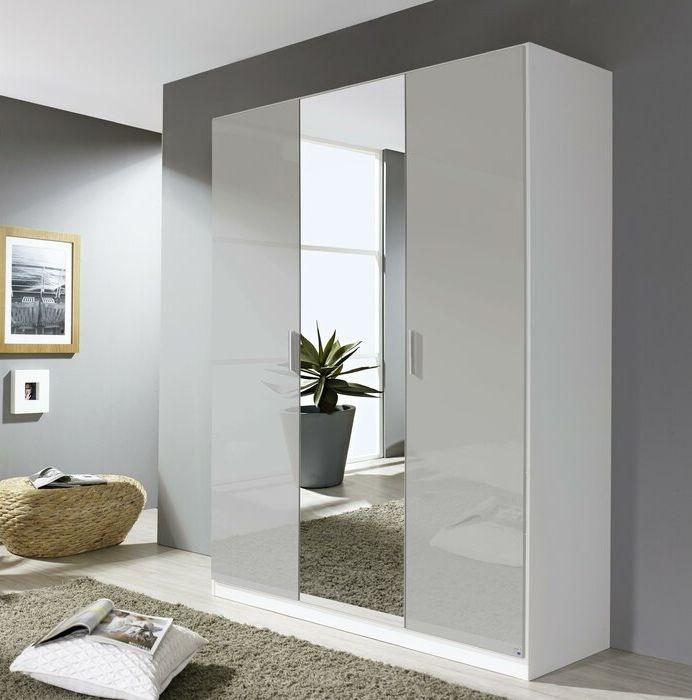 Rauch Stuttgart 3 Door Wardrobe in Alpine White and High Polish Soft Grey - W 136cm