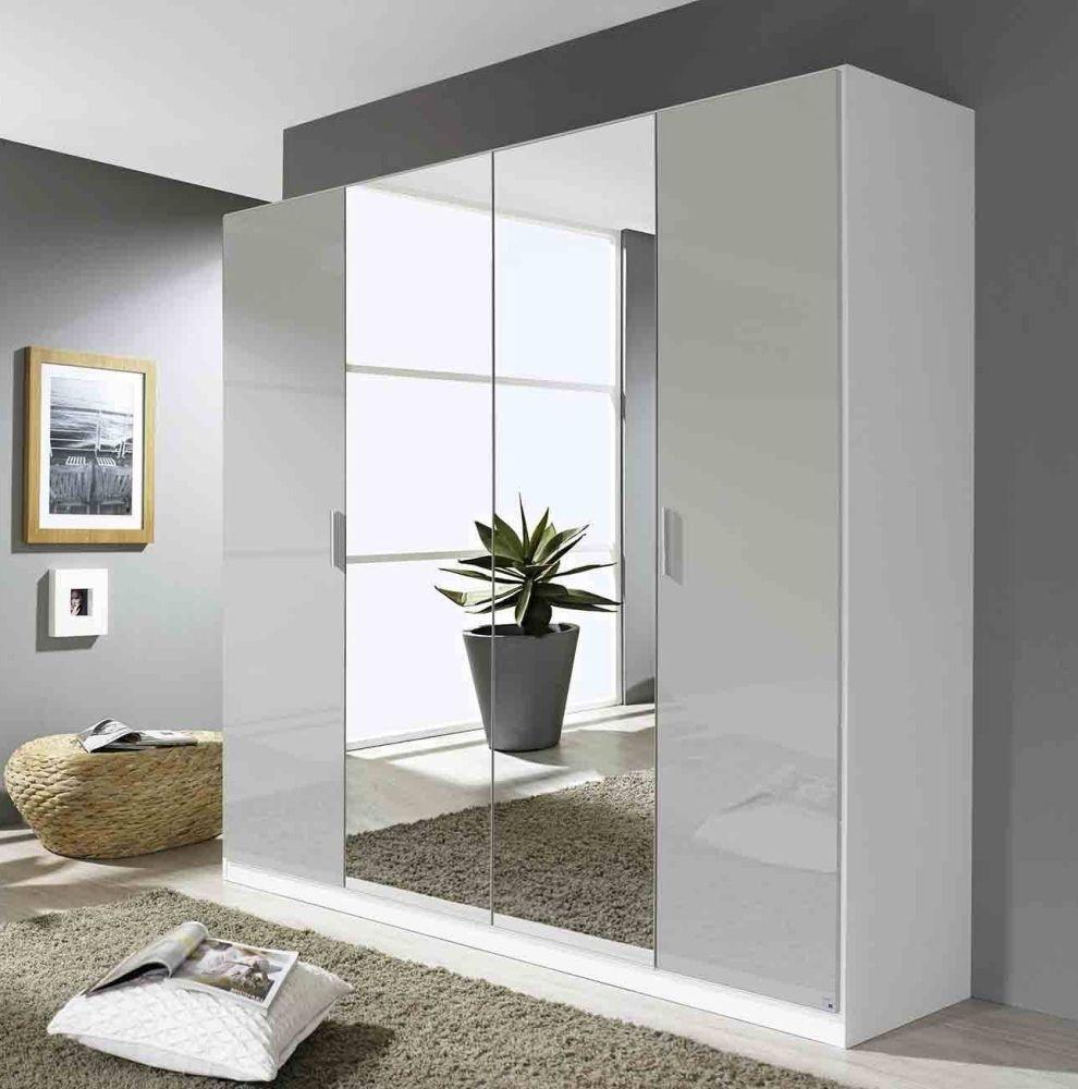 Rauch Stuttgart 4 Door Wardrobe in Alpine White and High Polish Soft Grey - W 180cm