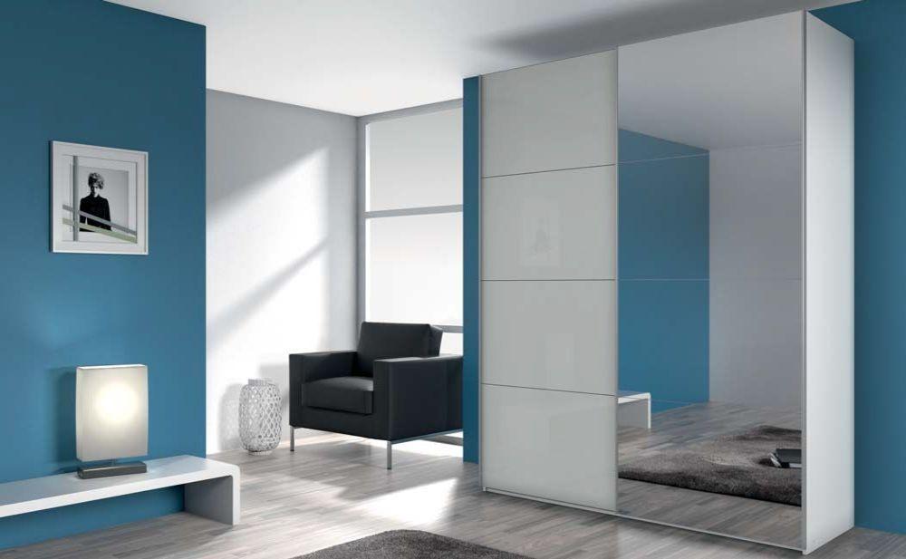 Rauch Stuttgart Alpine White with High Gloss Silk Grey 2 Door 1 Mirror Sliding Wardrobe with Aluminium Coloured Handles - W 136cm