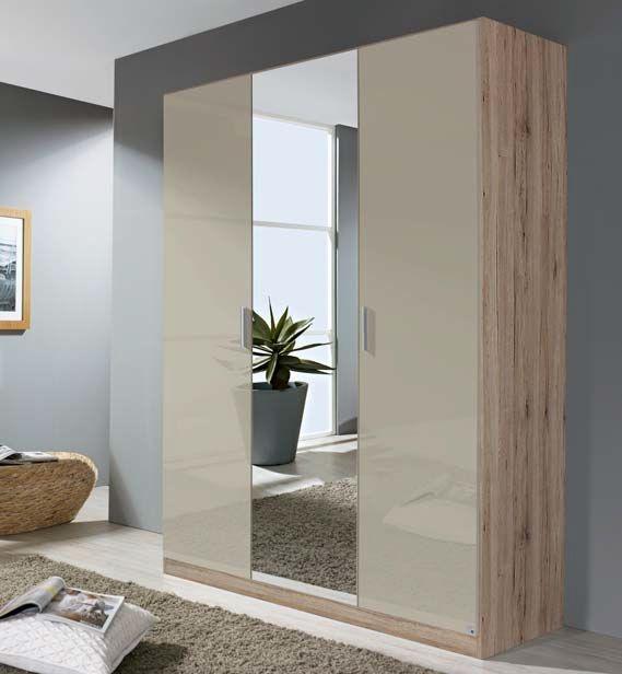 Rauch Stuttgart Sanremo Oak Light with High Gloss Sand Grey 3 Door 1 Mirror Wardrobe with Aluminium Coloured Handles - W 136cm