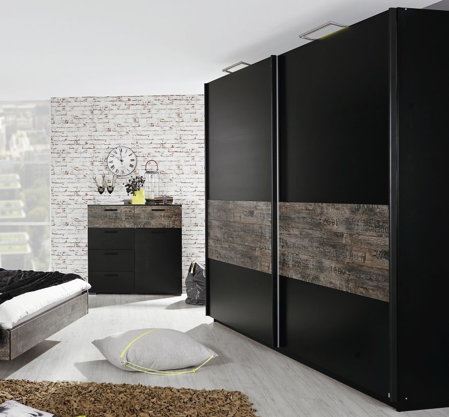 Rauch Sumatra Black with Brown Vintage Look 2 Door Sliding Wardrobe - W 225cm