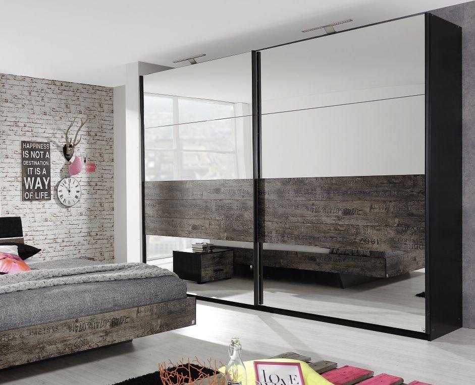 Rauch Sumatra 2 Door Mirror Sliding Wardrobe in Black and Brown - W 136cm