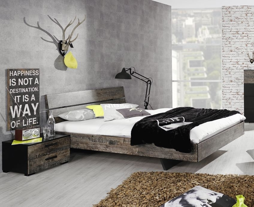 Rauch Sumatra 4ft 6in Double Bed in Black and Brown - 140cm x 200cm