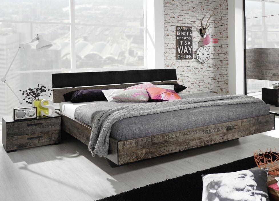 Rauch Sumatra 6ft Queen Size Vintage Optic Lower Panel Bed in Black and Brown - 180cm x 200cm