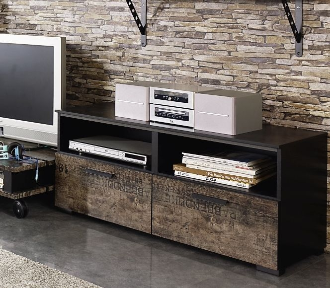 Rauch Sumatra 2 Drawer TV Unit in Black and Brown
