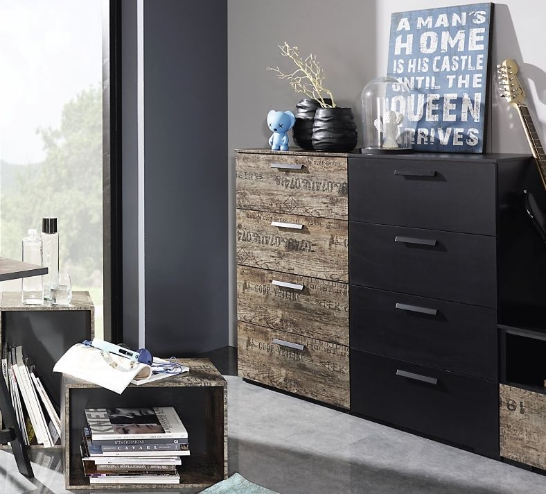 Rauch Sumatra 2 Door 2 Drawer Combi Chest in Black and Brown Top Drawer