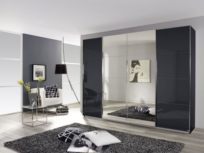 Rauch Syncrono 4 Door Mirror Sliding Wardrobe in Metallic Grey and Black Glass - W 361cm