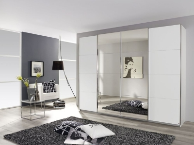 Rauch Syncrono 4 Door Mirror Sliding Wardrobe in White - W 316cm