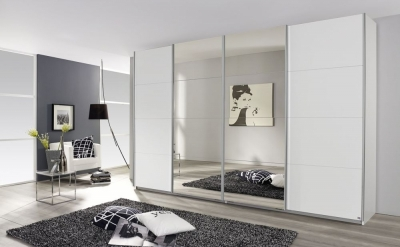 Rauch Syncrono 4 Door Mirror Sliding Wardrobe in White - W 361cm