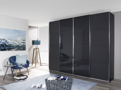 Rauch Syncrono 4 Door Sliding Wardrobe in Metallic Grey and Basalt Glass - W 316cm