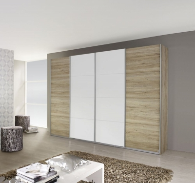 Rauch Syncrono 4 Door Sliding Wardrobe in Oak and White - W 316cm