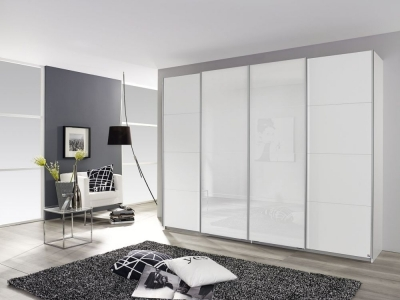 Rauch Syncrono 4 Door Sliding Wardrobe in White Glass - W 361cm