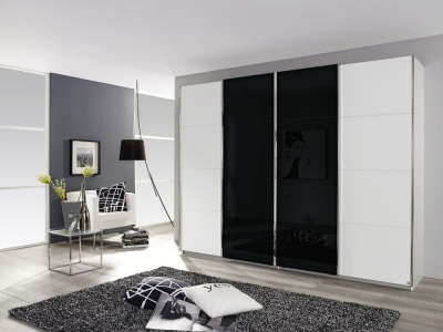 Rauch Syncrono 4 Door Sliding Wardrobe in White and Black Glass - W 316cm