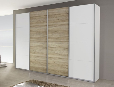 Rauch Syncrono 4 Door Sliding Wardrobe in White and Oak - W 316cm
