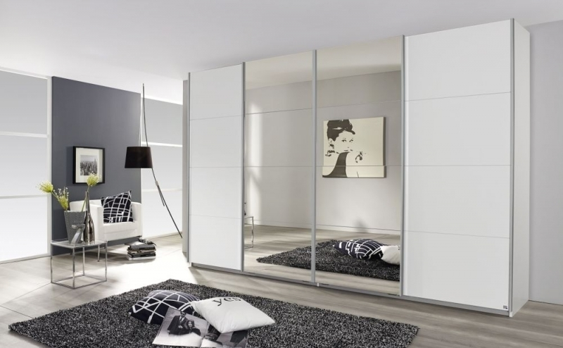 Rauch Syncrono 4 Door Sliding Wardrobe with Mirror in White - W 361cm - FSS9011
