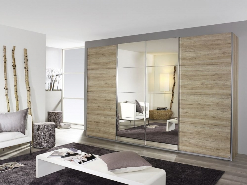 Rauch Syncrono 4 Door Mirror Sliding Wardrobe in Oak - W 361cm