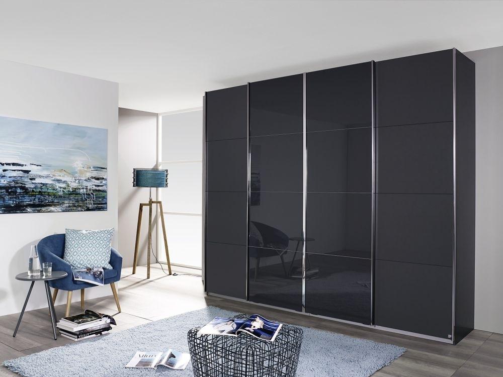 Rauch Syncrono 4 Door Sliding Wardrobe in Metallic Grey and Basalt Glass - W 316cm